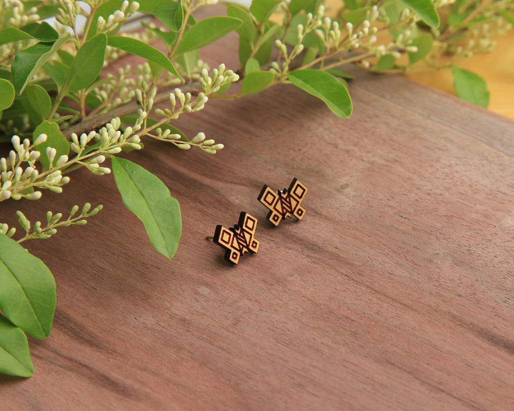 Butterfly Wooden Stud Earrings