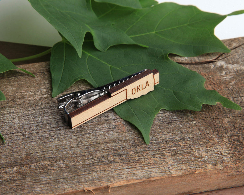 Maple Wood | Oklahoma | Cuff Link & Tie Clip Set