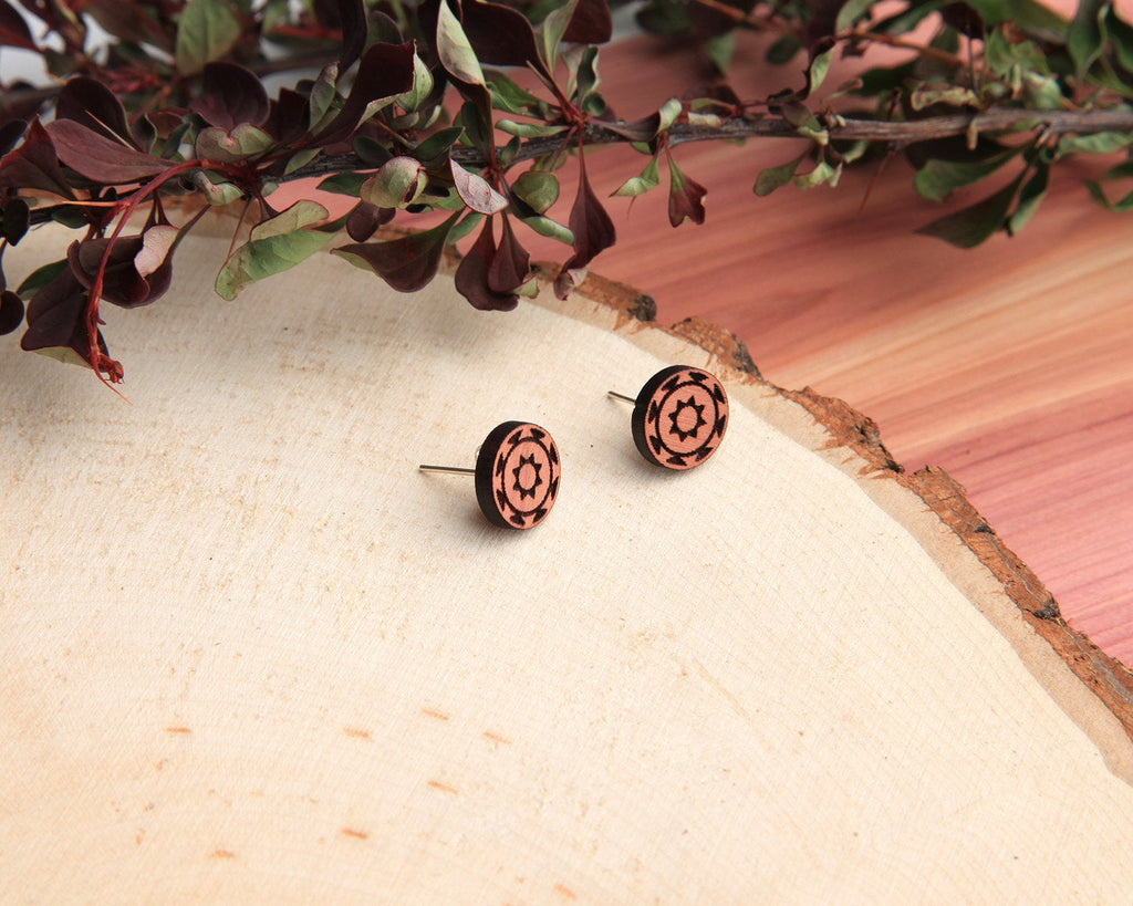Diamondback | Wood Stud Earrings | Cedar and Oak