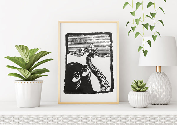 Octopus Wood Block Print