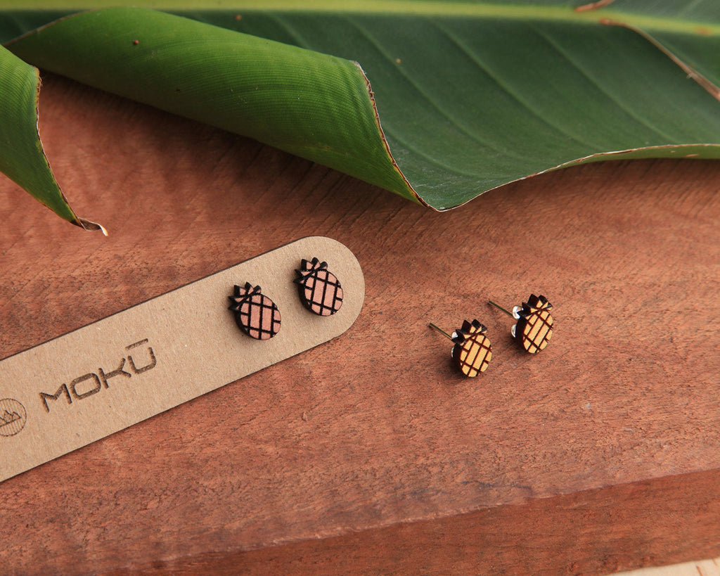 Wood Stud Earrings | Pineapple | Eucalyptus and Osage Orange