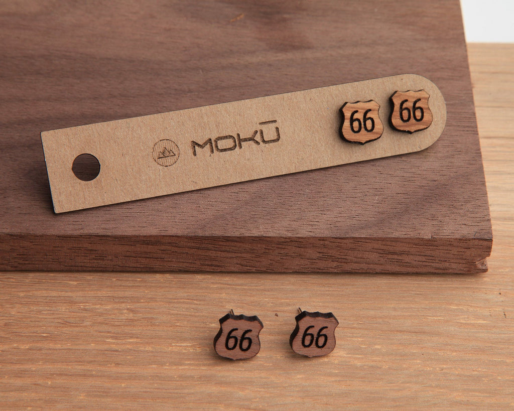 Route 66 Wooden Stud Earrings