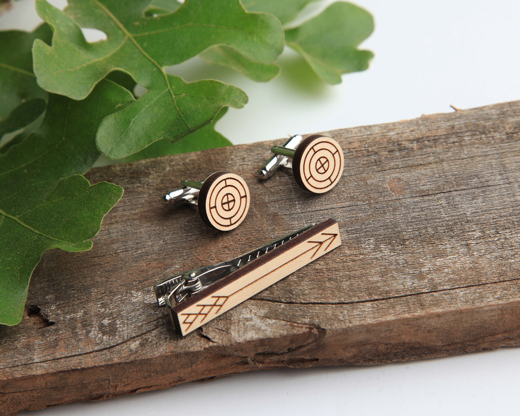 Maple Wood | Arrow | Cuff Link & Tie Clip Set