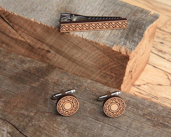 Maple Wood | Tidal | Cuff Link & Tie Clip Set