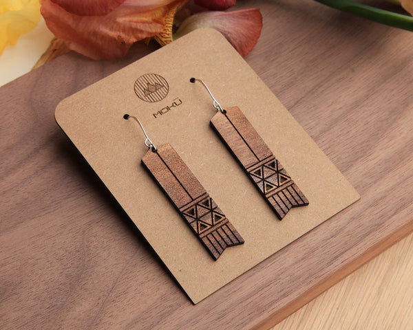Horse Hair | Wood Earrings | Walnut and Oak