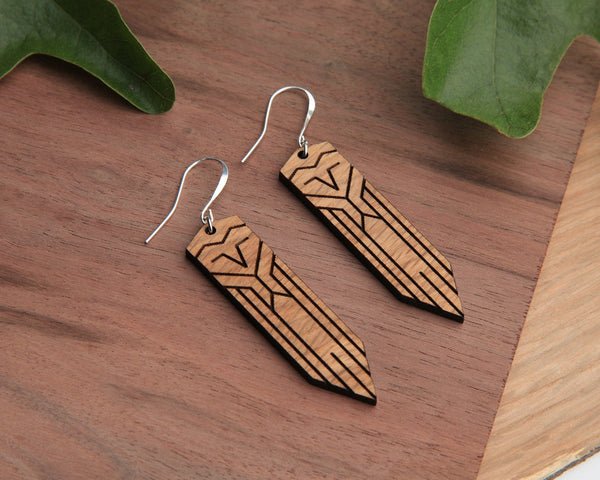 Wood Earrings | Owl | Walnut and Oak