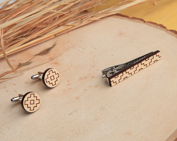 Maple Wood | Thunder | Cuff Link & Tie Clip Set