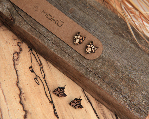 Coyote | Wood Stud Earrings | Hackberry and Walnut