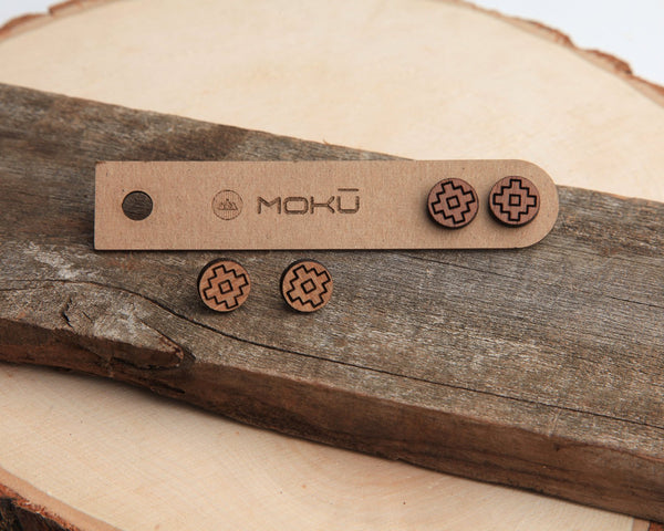 Thunder Wooden Stud Earrings