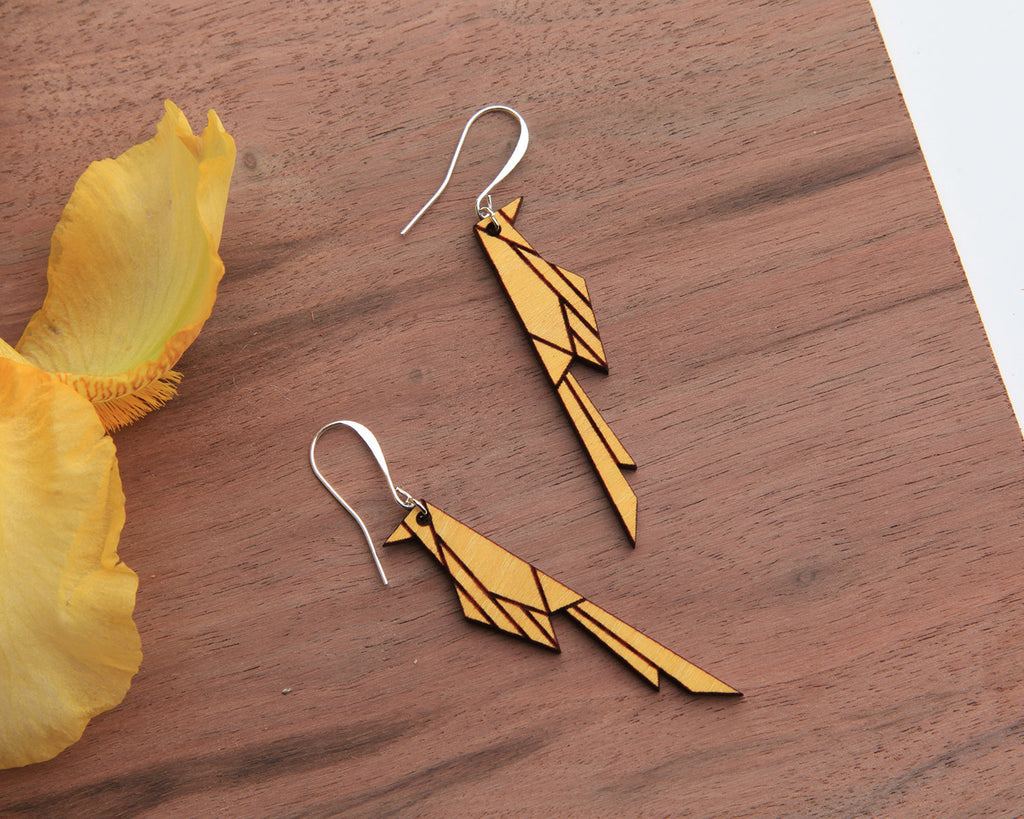 Wood Earrings | Scissortail | Osage Orange and Walnut