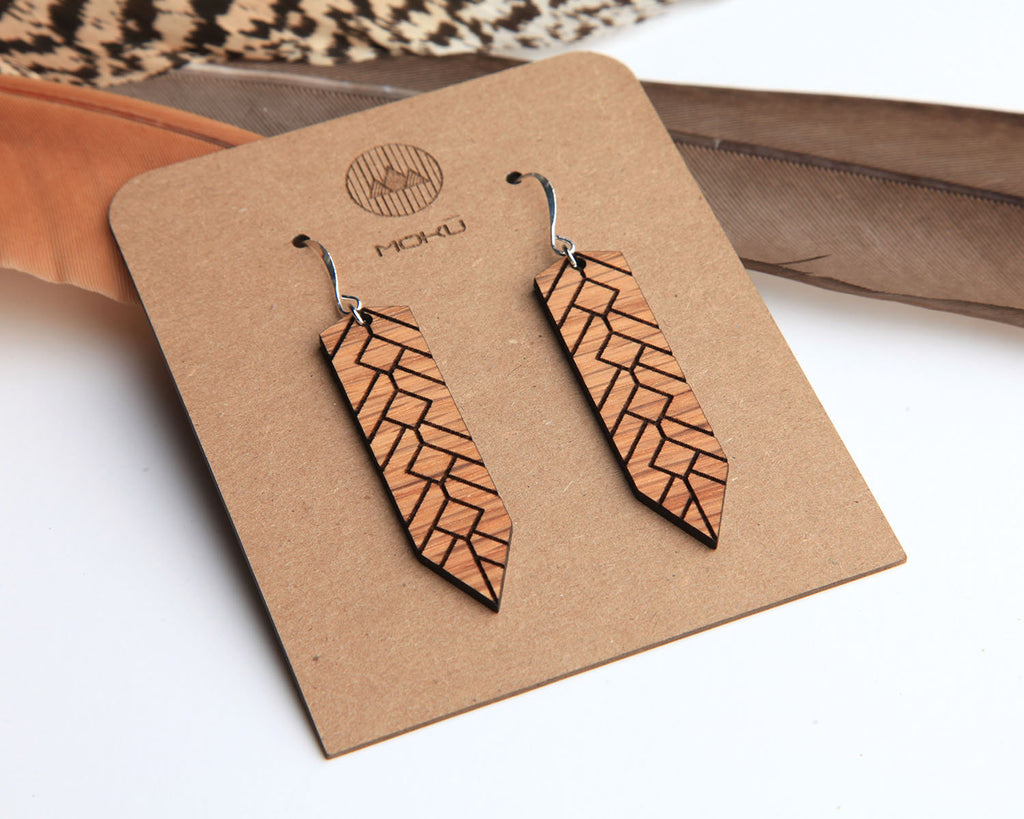 Feather | Wood Earrings | Walnut and Oak