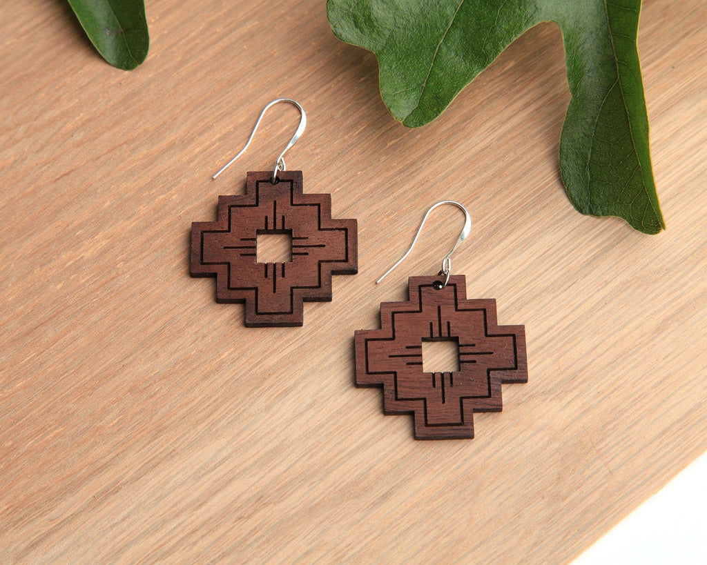 Compass | Wood Earrings | Walnut and Oak