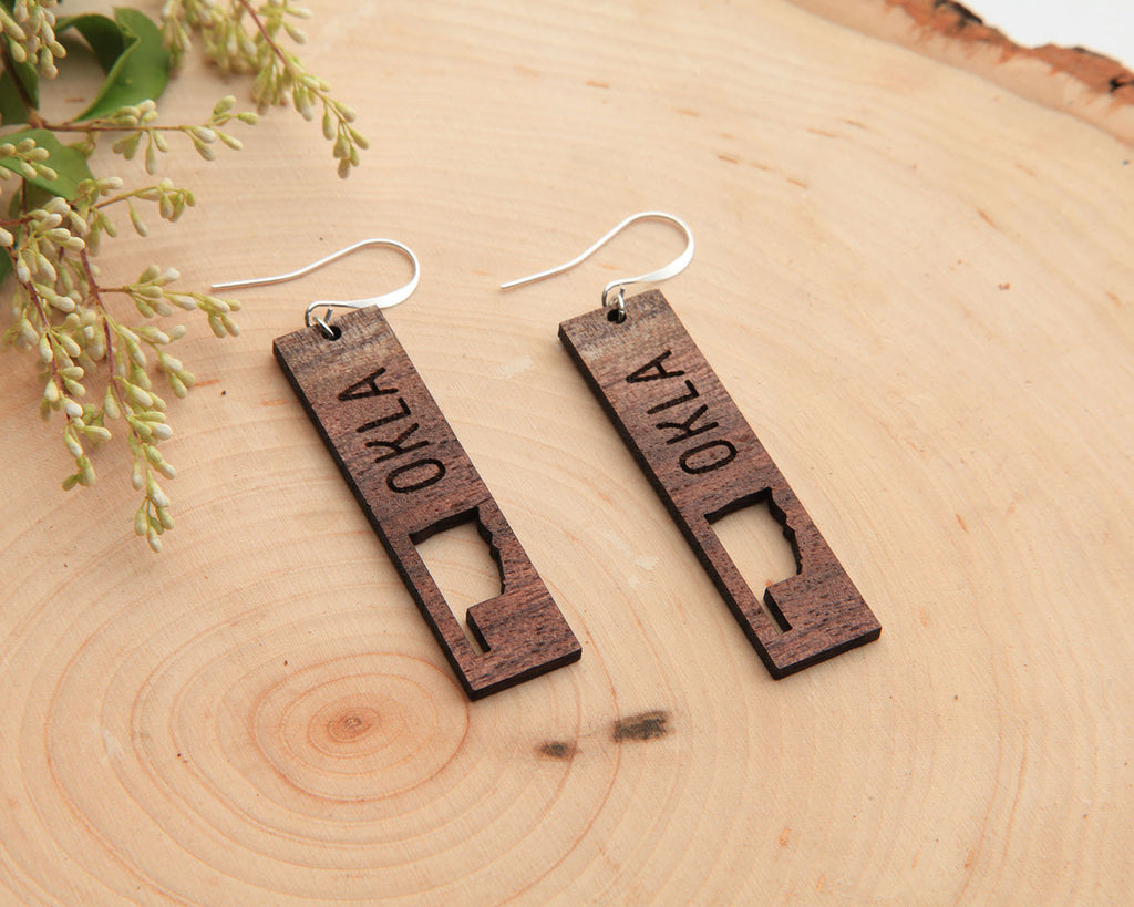 Wood Earrings | Oklahoma | Walnut and Oak