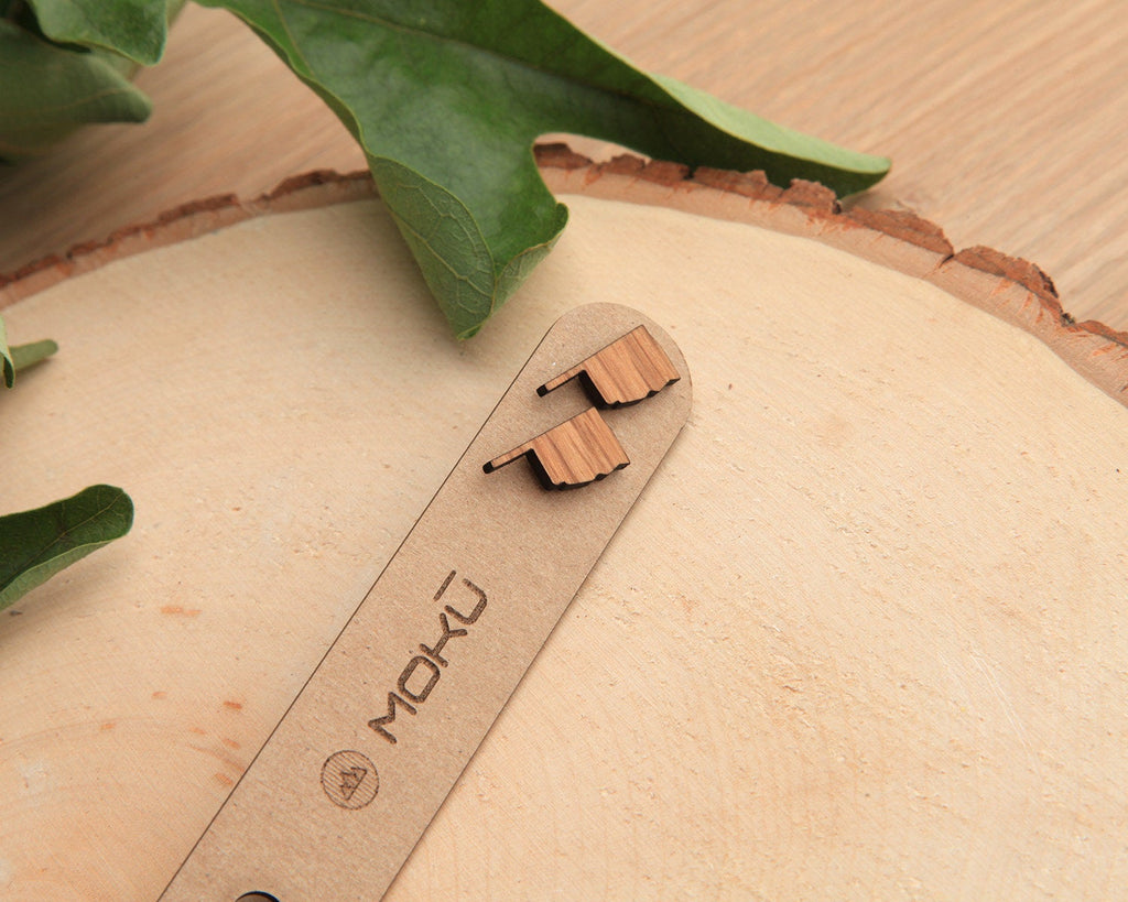 Oklahoma | Wood Stud Earrings | Walnut and Oak