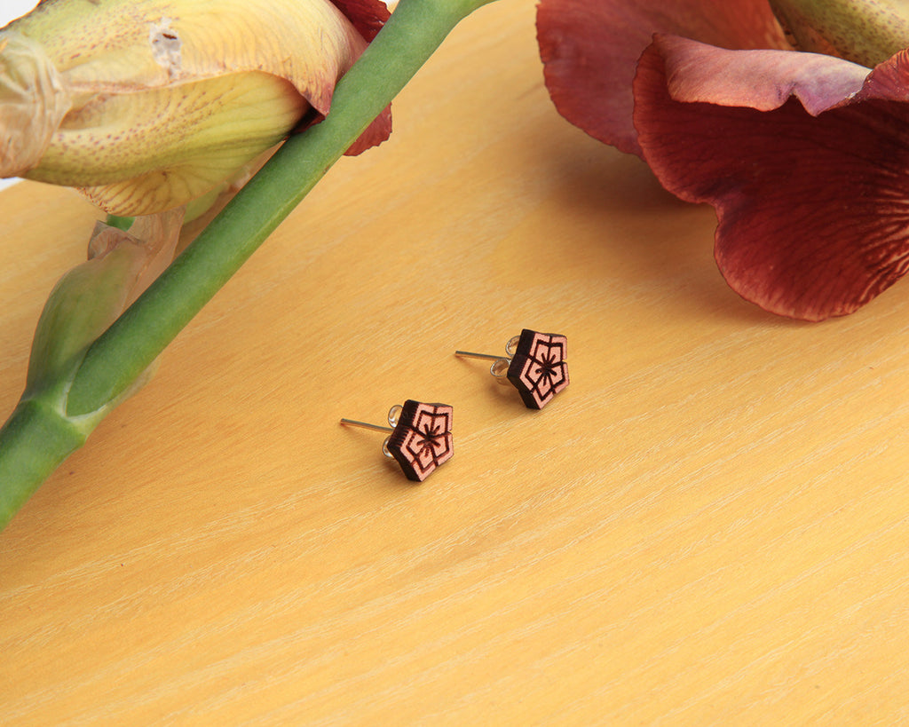 Wood Stud Earrings | Flower | Cedar and Osage Orange