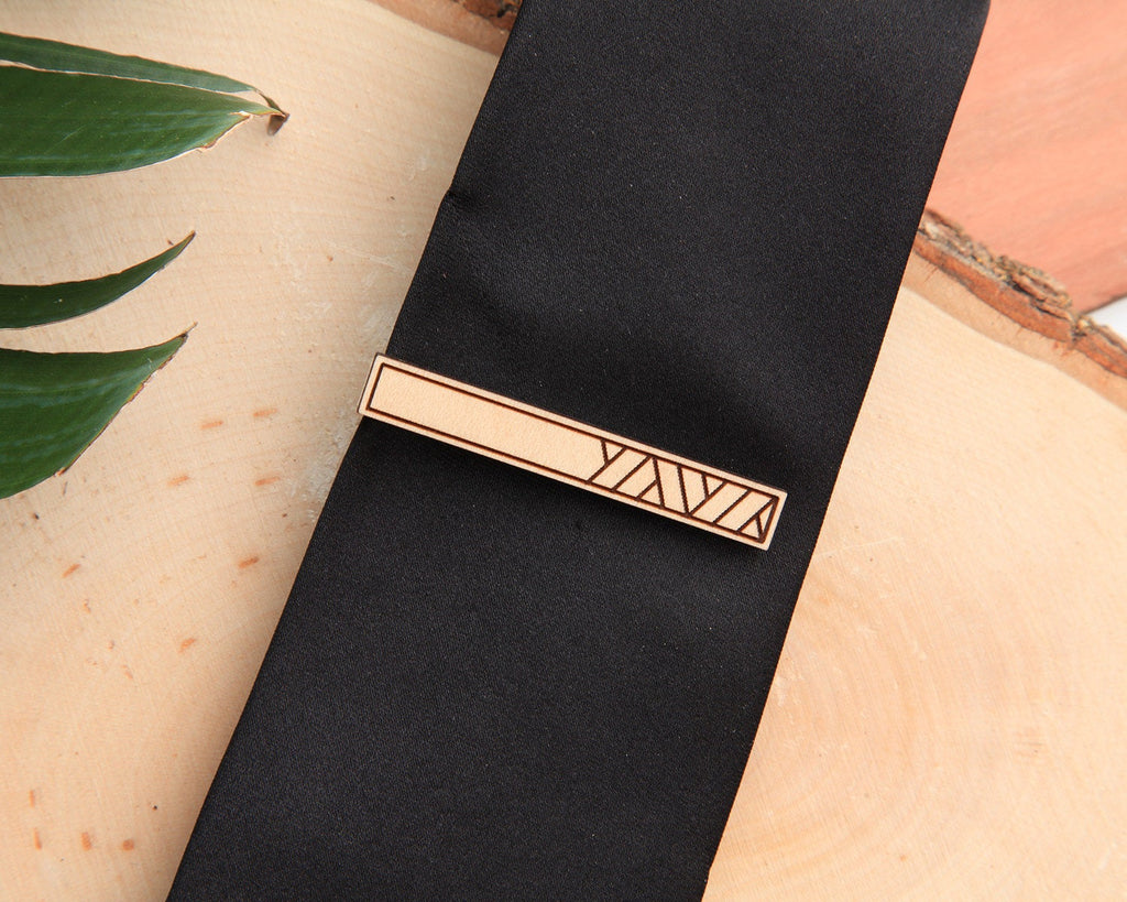 Maple Wood | Weave | Cuff Link & Tie Clip Set