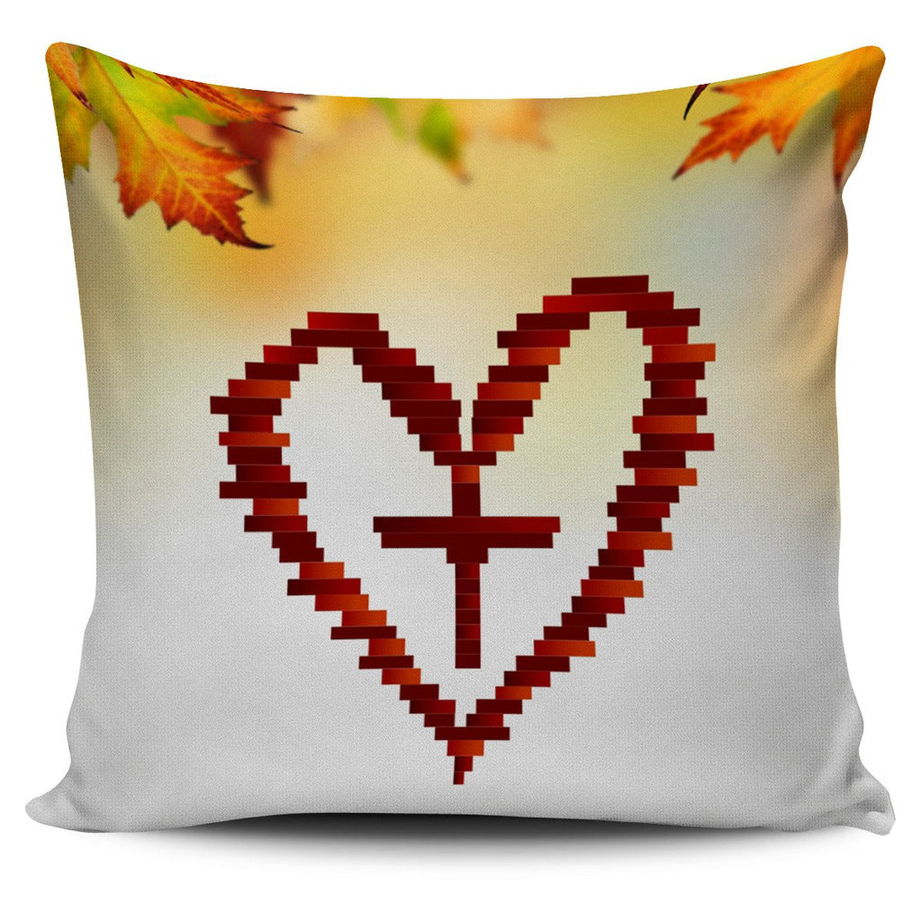 Heart Cross Pillow Cover - Christianity Amore
