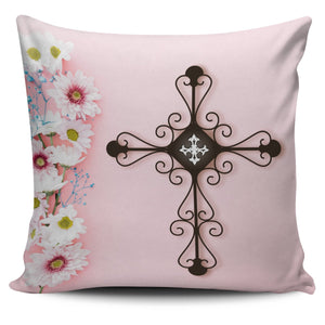 The Pink Lady Cross Pillow Cover - Christianity Amore