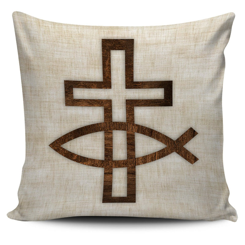 Cross and Fish Pillow Cover - Christianity Amore