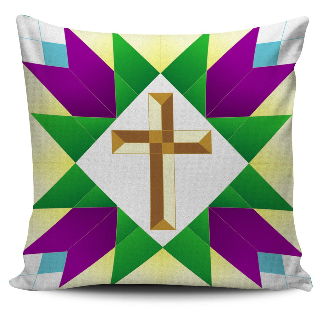 Green, Gold & Purple - Pillow Cover - Christianity Amore