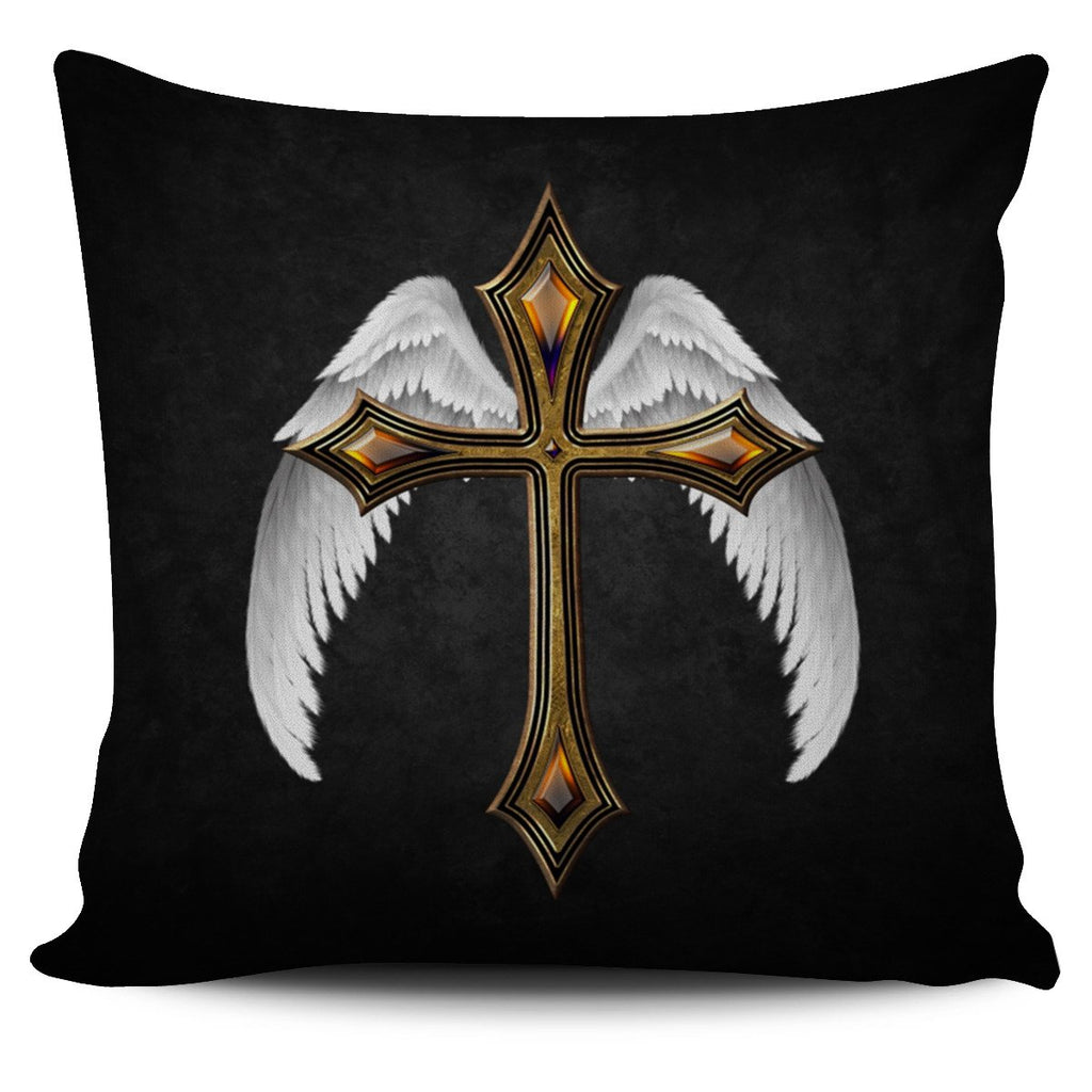 Feathered Jewel Cross Pillow Cover - Christianity Amore