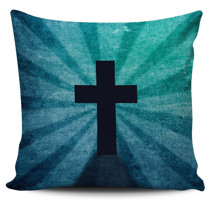 Blue Shadow Cross Pillow Cover - Christianity Amore