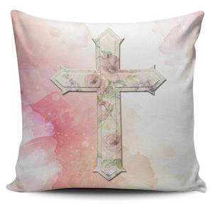 Pink Rose Cross Pillow Cover - Christianity Amore