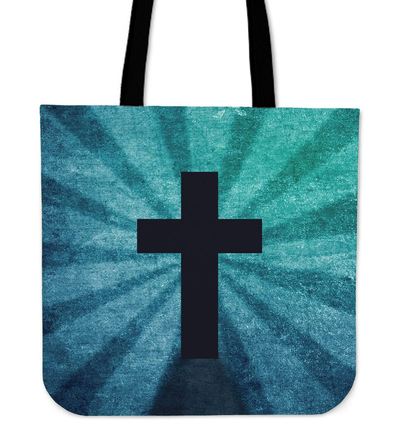 Blue Shadow Cross Tote Bag - Christianity Amore
