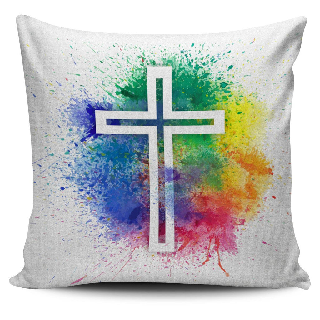 Speckled Modern Cross Pillow Cover - Christianity Amore