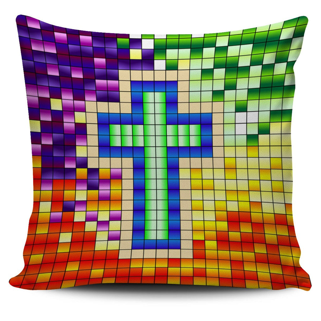 Pixel Cross Pillow Cover - Christianity Amore