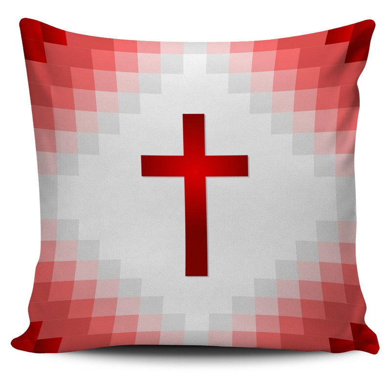 Red Pixel Cross Pillow Cover - Christianity Amore
