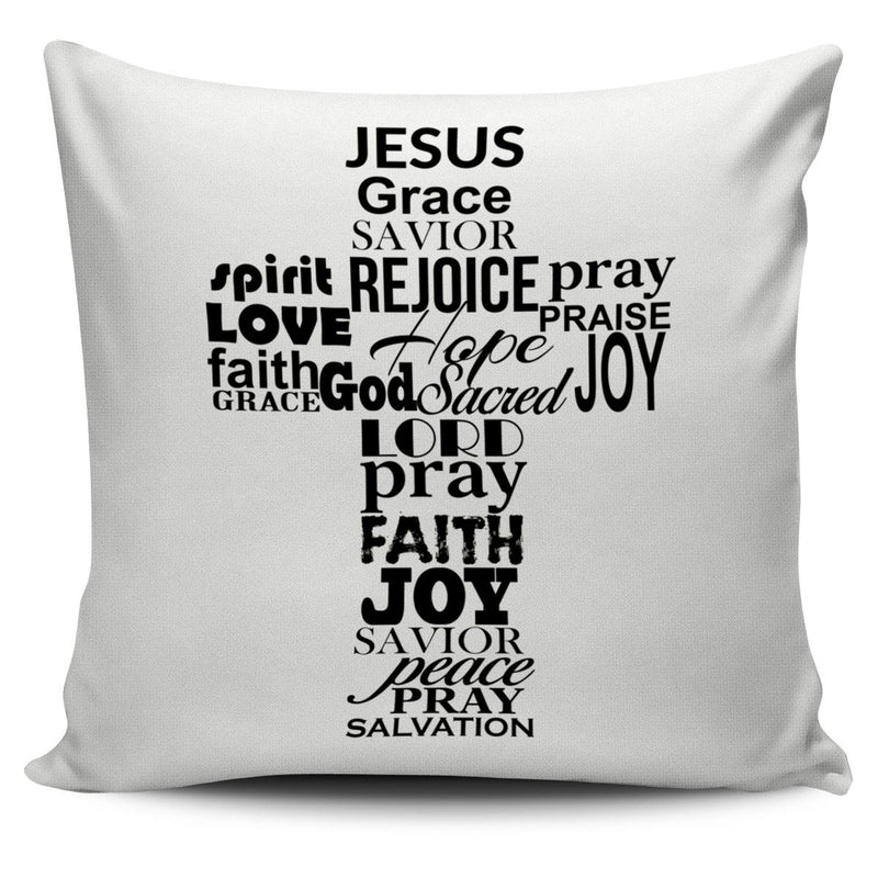 Jesus Word Cross Vanilla Background Pillow Cover - Christianity Amore