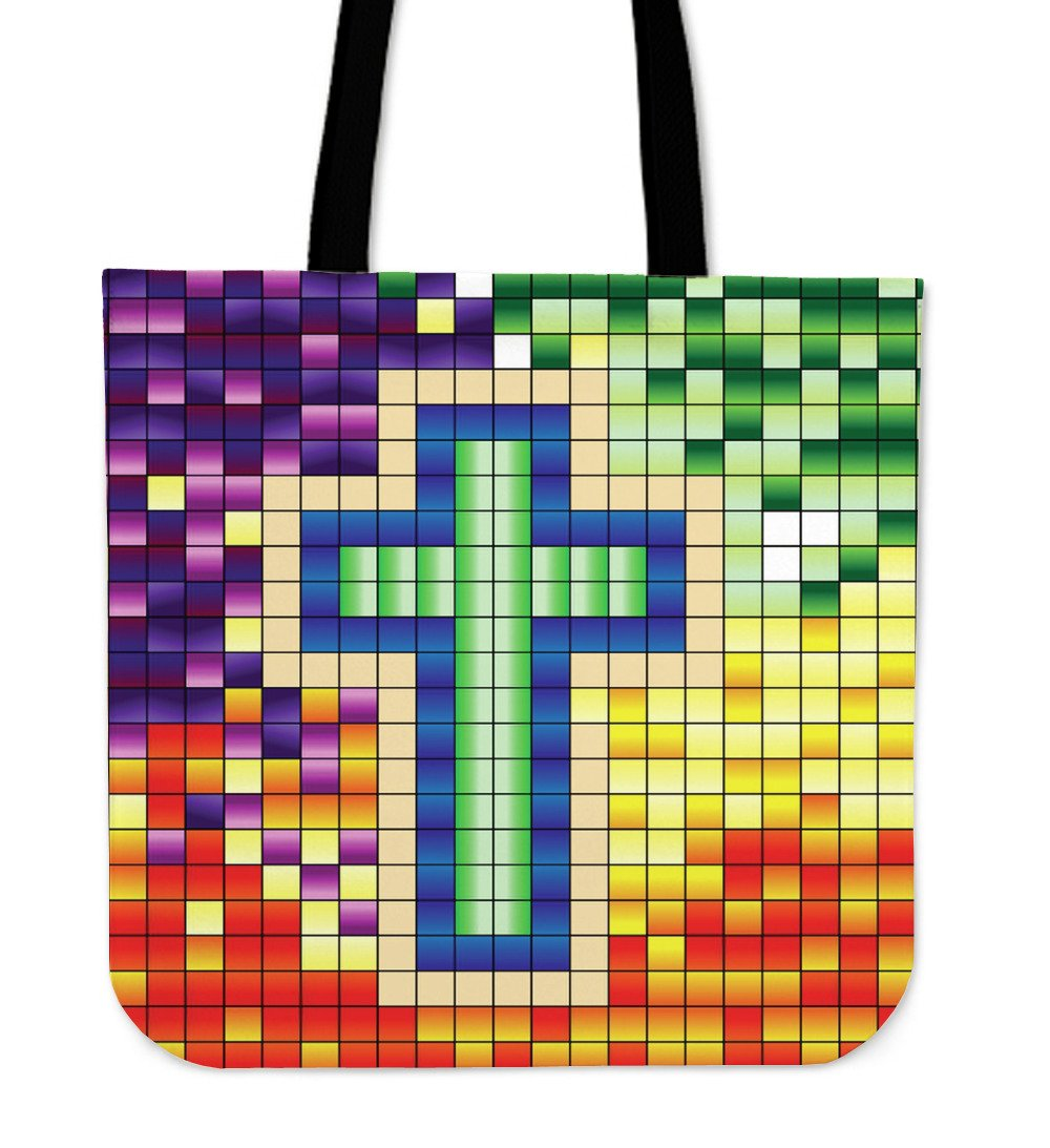 Pixel Cross Tote Bag - Christianity Amore