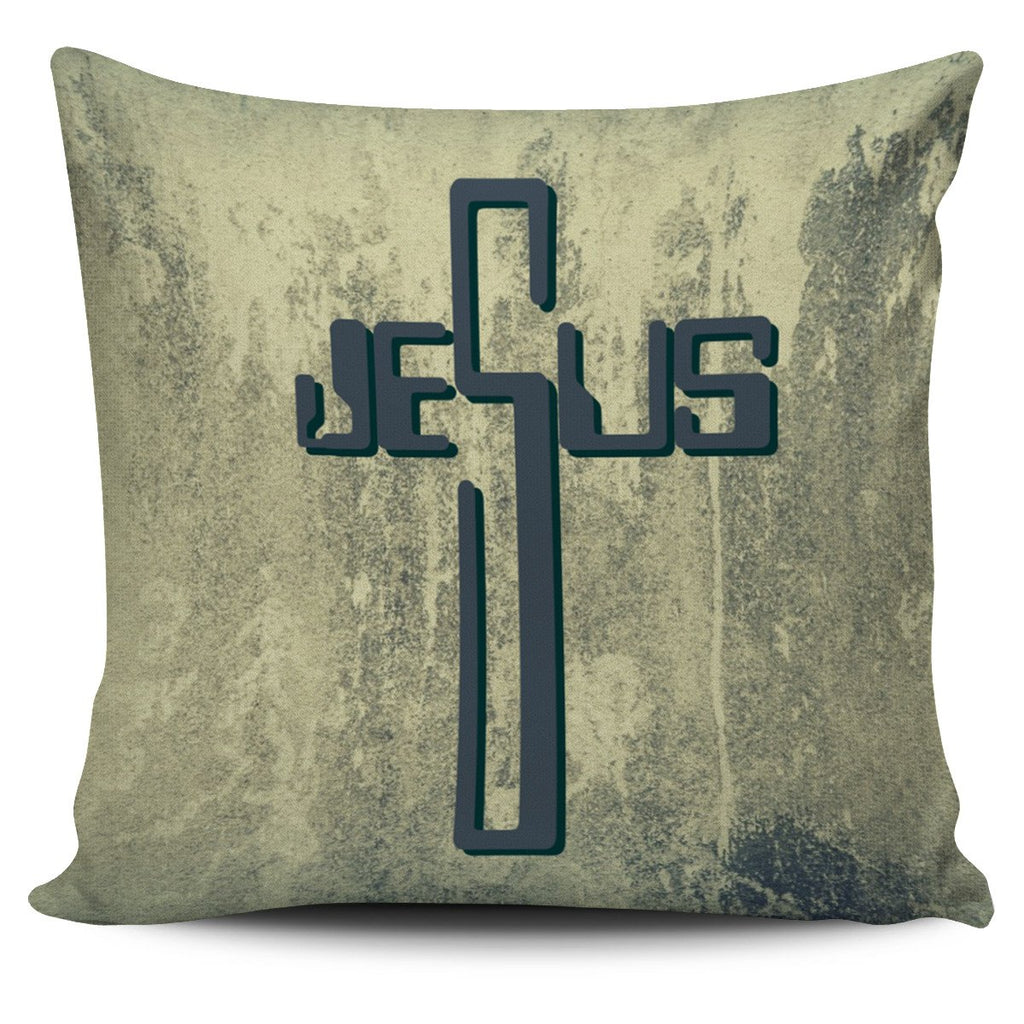Industrial Jesus Name Cross Pillow Cover - Christianity Amore