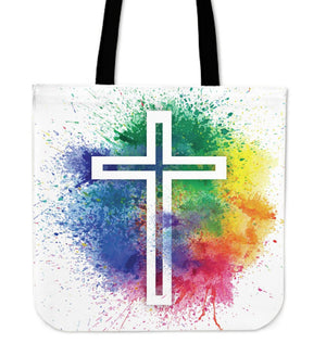 Modern speckled cross Tote Bag - Christianity Amore