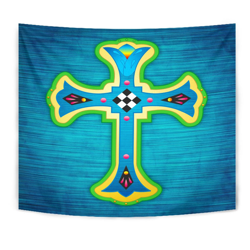 Mosaic Teal Cross Tapestry - Christianity Amore