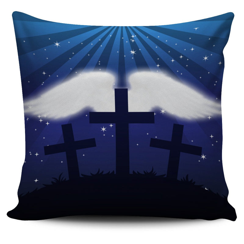 Three crosses with wings Pillow Cover - Christianity Amore