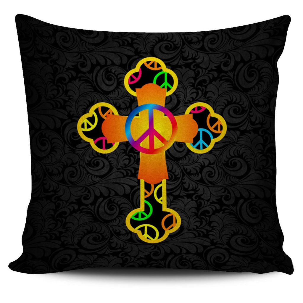 Hippie Vibe Cross Pillow Cover - Christianity Amore