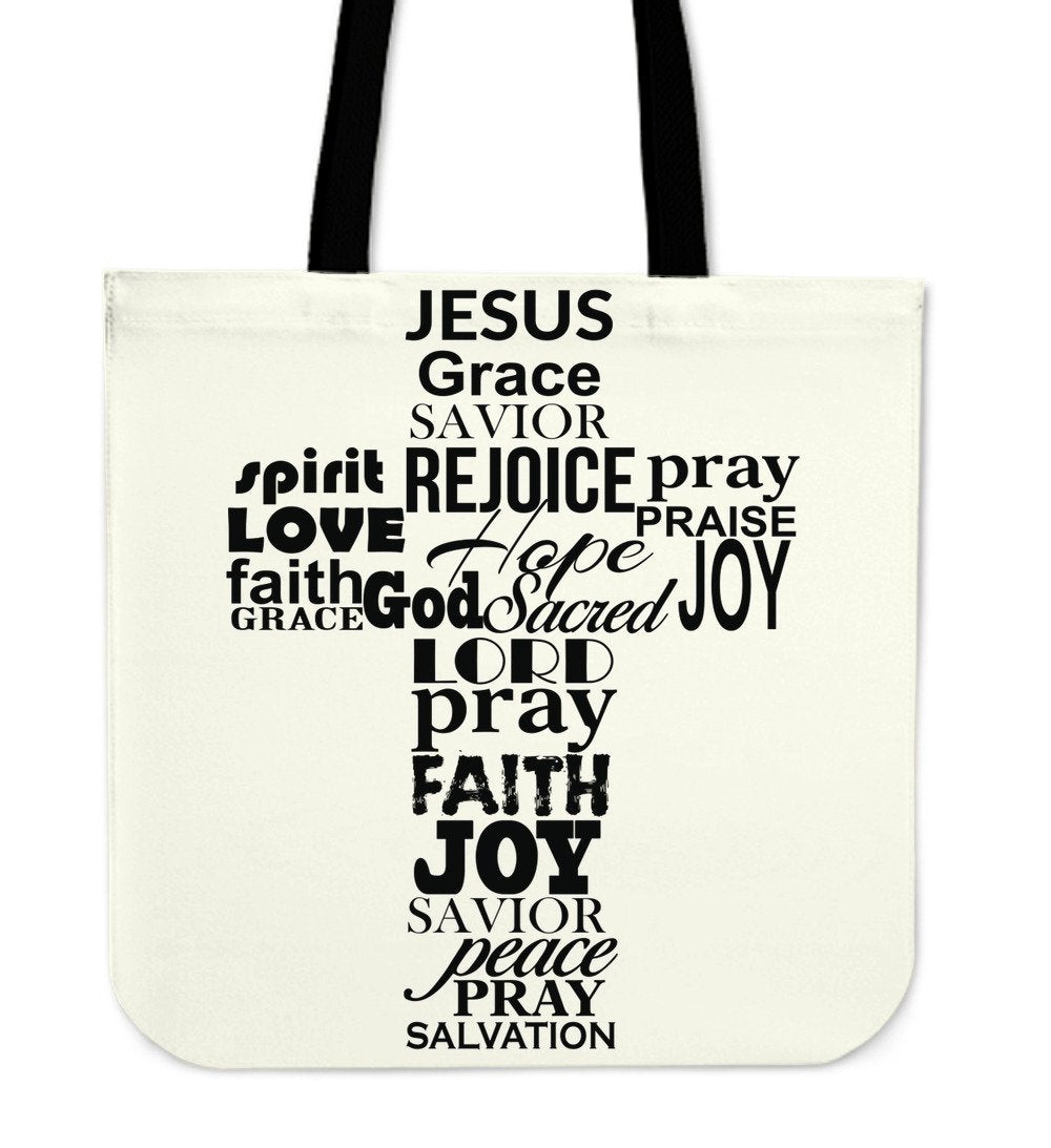 Word Cross Tote Bag - Christianity Amore