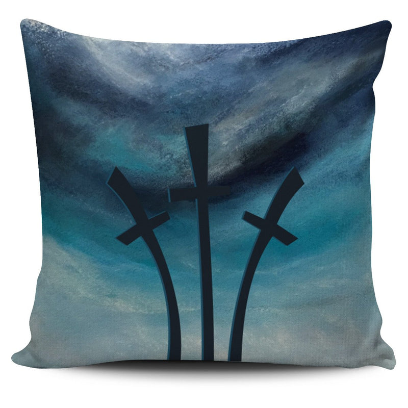 Three Cross Blue Pillow Cover - Christianity Amore