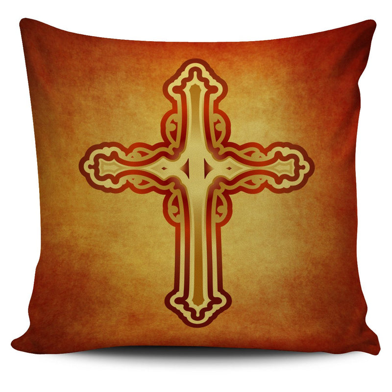 Orange Cross Pillow Cover - Christianity Amore