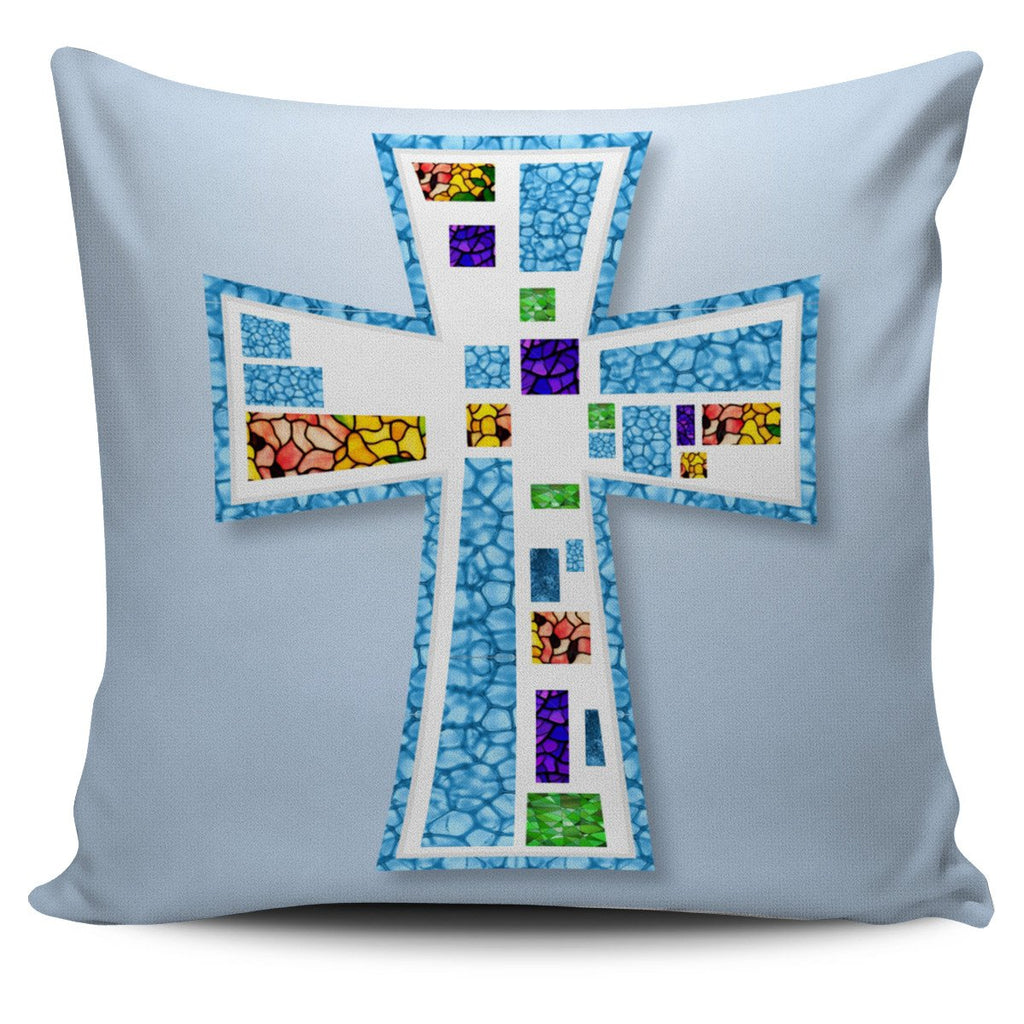 Blue Mosaic Cross Pillow Cover - Christianity Amore