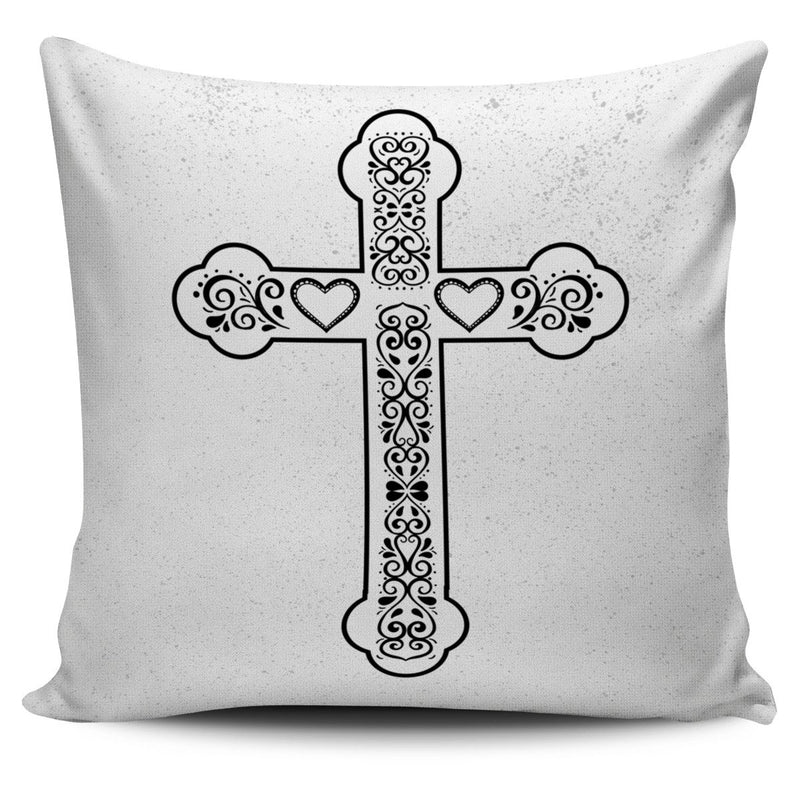Scandinavian Cross with speckled background Pillow Cover - Christianity Amore