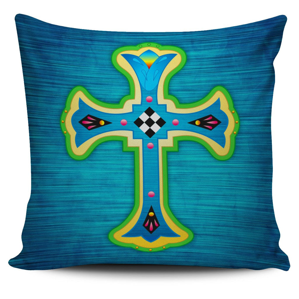 Modern Cross Blue Pillow Cover - Christianity Amore