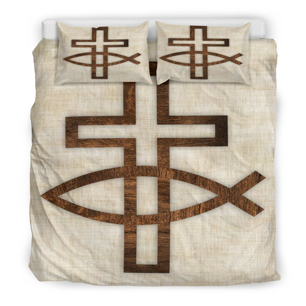 Cross and Fish Symbol Duvet Cover - Christianity Amore