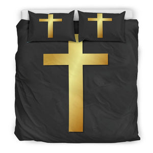 Majestic Gold Cross on Black Duvet Cover - Christianity Amore