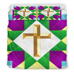 Purple Green and Gold Cross Duvet - Christianity Amore