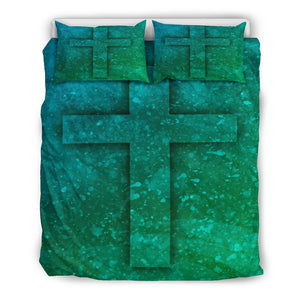 Blue Green Cross Duvet Cover - Christianity Amore