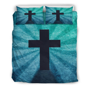 Blue Shadow Cross Duvet Cover - Christianity Amore