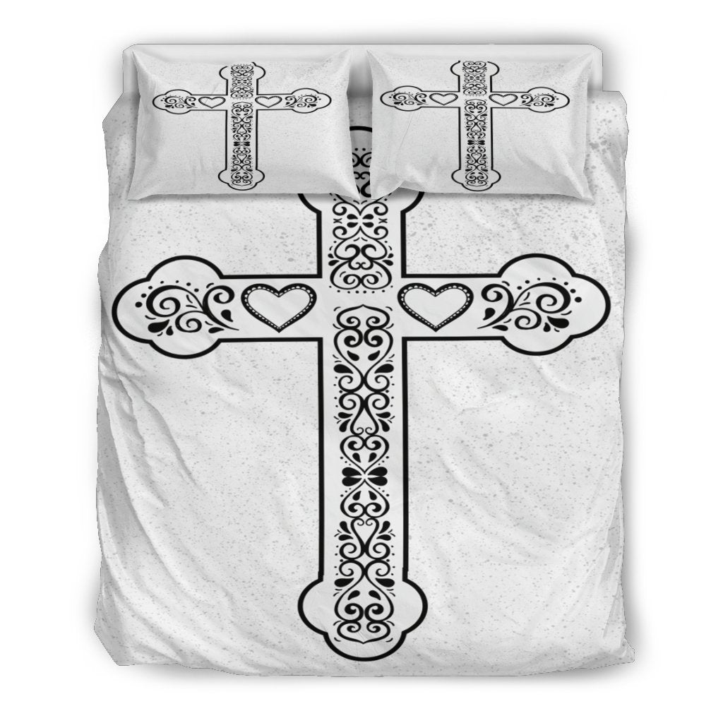 Scandinavian Cross with speckles Duvet Cover - Christianity Amore